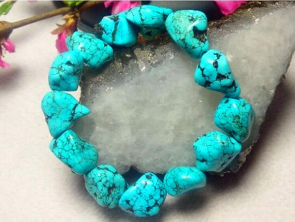 Natural Crystal Raw Stone Turquoise Irregular Bracelet Natural Turquoise Contour Bracelet for Men and Women