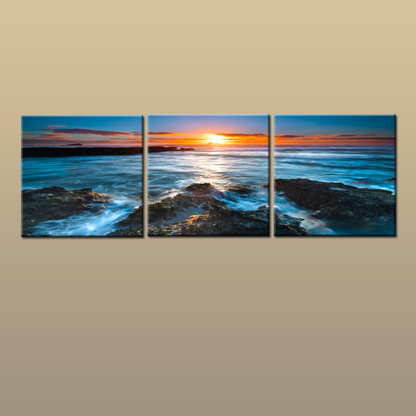 Framed/Unframed Hot Modern Contemporary Canvas Wall Art Print Painting Beach Sunset Seascape Picture 3 piece Living Room Home Decor ABC252