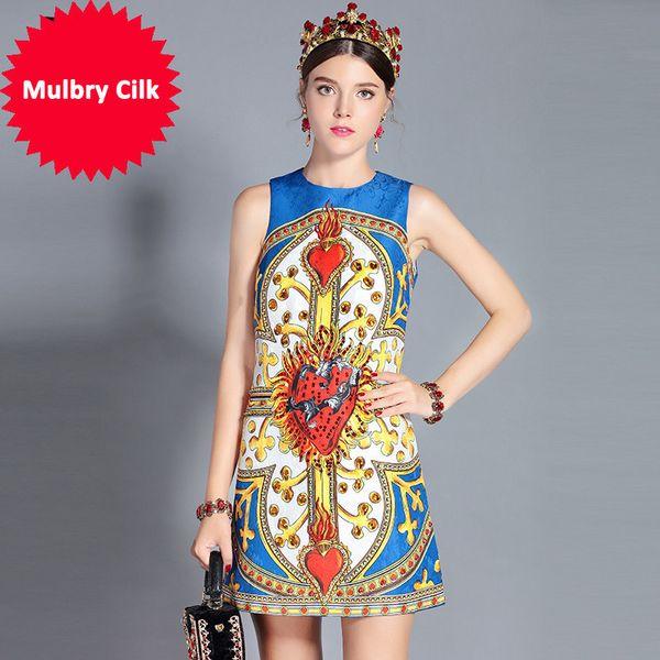 New 2018 Fashion Runway Summer Dress Women's Sleeveless Tank Crystal Sequin Printed Mini Vintage Dress vestido