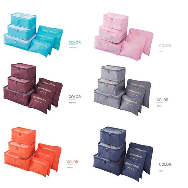 Moda Iç Çamaşırı Çorap Saklama Poşetleri Su Geçirmez Polyester Erkekler ve Kadınlar Bagaj Seyahat Çantaları Ambalaj Küpleri 6 adet / takım