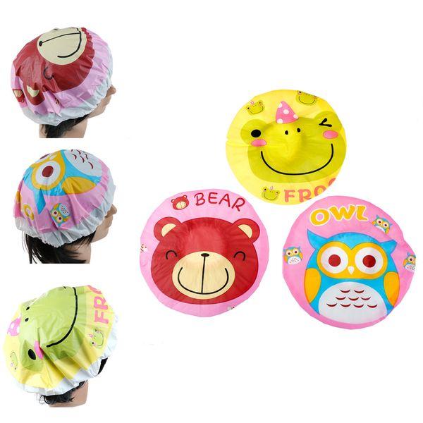 1PCS Waterproof Cartoon Kids Children Women Bathing Cap Hat Cute Animal Print Elastic PVC Shower Cap Bath