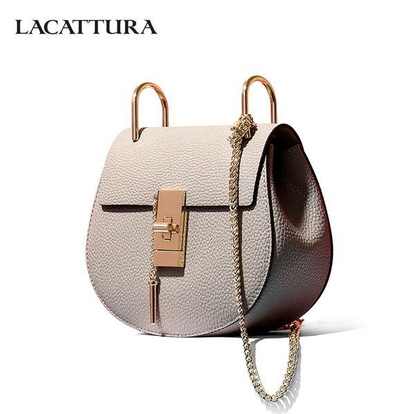 LACATTURA women messenger bags cowhide leather handbag ladies Chain shoulder bags clutch fashion crossbody bag brand candy color Y18102903