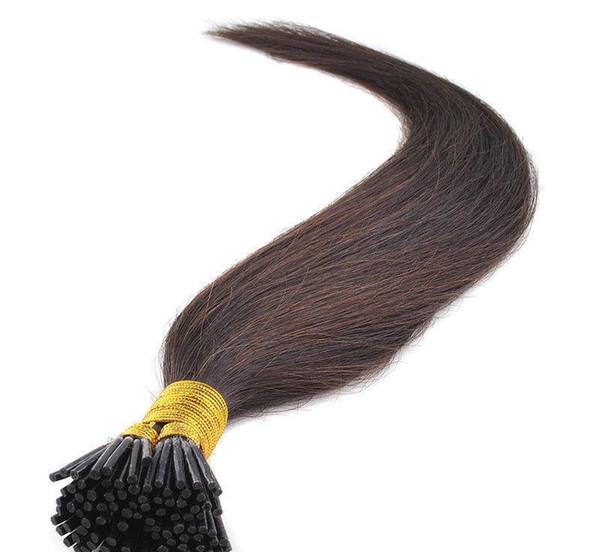 Stick I dica em extensões de cabelo cor marrom 1gr st pré-ligado extensão do cabelo remy 300gr onda reta lote, livre DHL