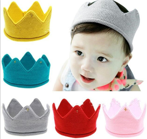 Baby Knit Crown Tiara Kids Infant Crochet Headband cap hat birthday party Photography props Beanie Bonnet Y252