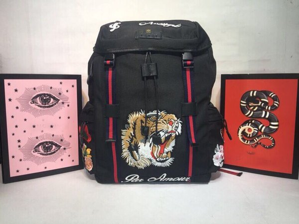 Hot New Arrival Fashion Women Travel Bags Hot Punk Style Men Backpack Designer Tiger Embroidery Backpack Lady Bags Size 32*45*14 n30