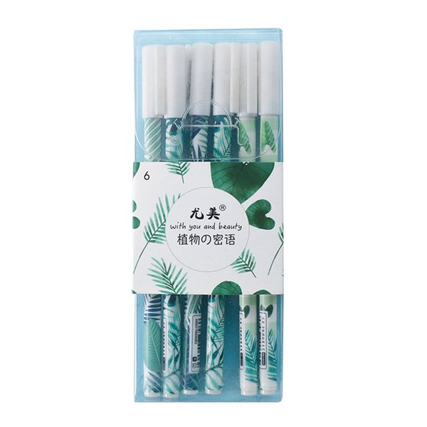 6 Pcs/lot Green Plants Bird Sakura Gel Pen Signature Pen Escolar Papelaria School Office Supply Student Teacher Gift