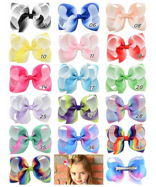 16pcs 4 Inch Rainbow Grosgrain Ribbon Bow With Clip Kids Cartoon Hair Clip Boutique Gradient Hair Accessories HD798