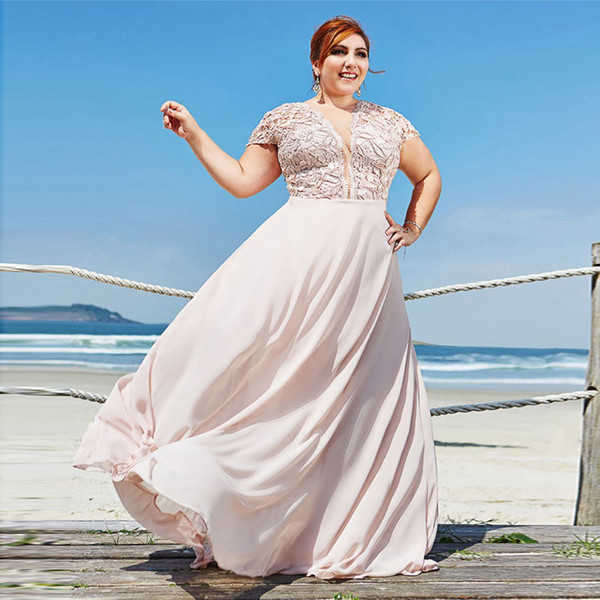 Pale Pink Plus Size Lace Prom Dresses Sheer Plunging Neck Cap Sleeves  Evening Gowns A Line Floor Length Chiffon Formal Dress Cinderella Prom  Dresses ...