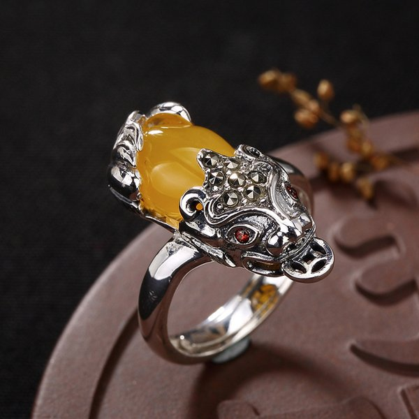 Certified Poland S925 Fine Jewelry Ring Sterling Silver Women Handmade Vintage Nature Retro Exquisite Semi Gemstone amber opal