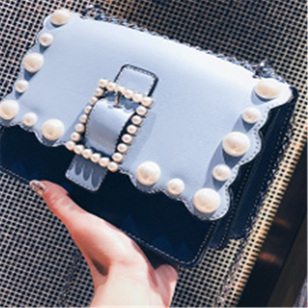 013 Han Guodong New Door Style New Wave Bag Pearl Small Square Bag Fashion Trend, Single Shoulder Shoulder Bag Ins Super Fire Girl