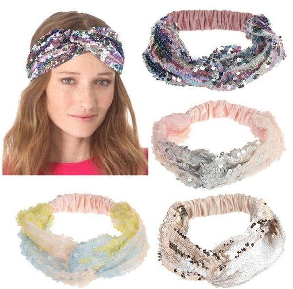9 Farben Pailletten Fischschuppen Stirnband Shiny Reversible Turban Elastische Kreuz Knoten Stirnbänder Für Frauen Haarband Party Favor CCA10395 50 stücke