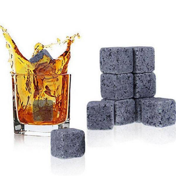 Home Bar Supply Natürliche Whiskey Stones Kühler Whiskey Rock Speckstein Eiswürfel mit Samt Aufbewahrungstasche LX3426