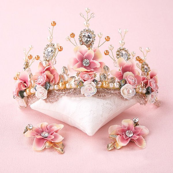 Fashion Ceramics Pearl Crystal Lace Fabric Flower Style Children Kids Hair Clip