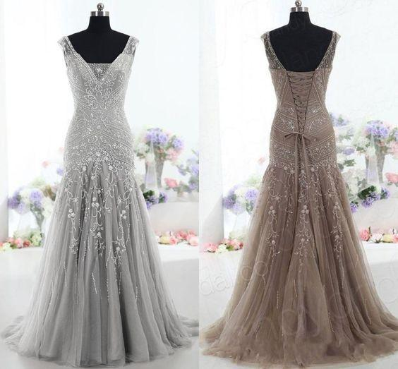 best selling Silver Brown Formal Mother Of The Bride Dresses V Neck Lace-up Back Major Beading Long Real Image Evening Mother Gowns Plus Size Customized