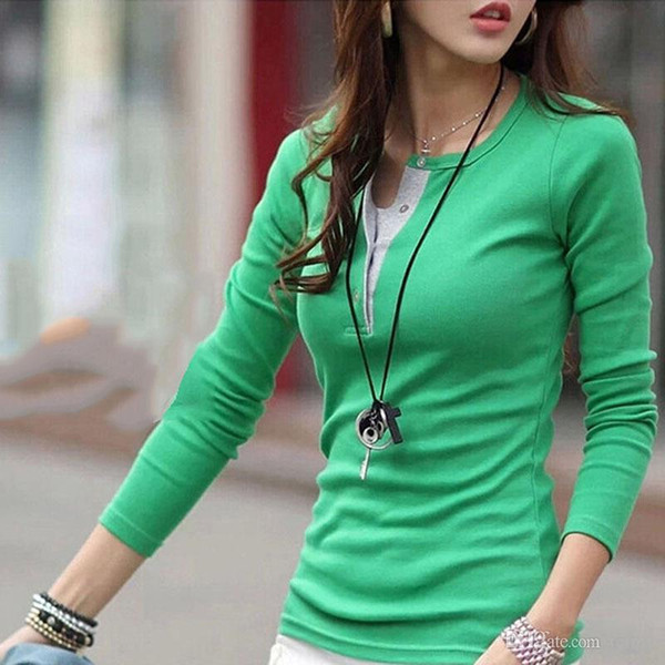 Wholesale- Korean Style Women Long Sleeve Button Cotton T-Shirts Casual Slim Tops Tee Shirt Femme T-Shirt Cotton New Plus Size Tshirt