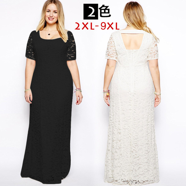 European Hot Sale Plus Size Lace Evening Dress Long Black For Fat Lady Elegant Full Length Long Dress Super Size 9XL