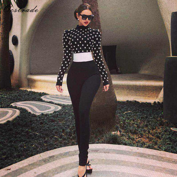 (Sold Out !!!)Ocstrade Jumpsuits for Women 2018 Elegant Long Sleeves Black Embellished High Quality Bodycon Jumpsuit Spandex