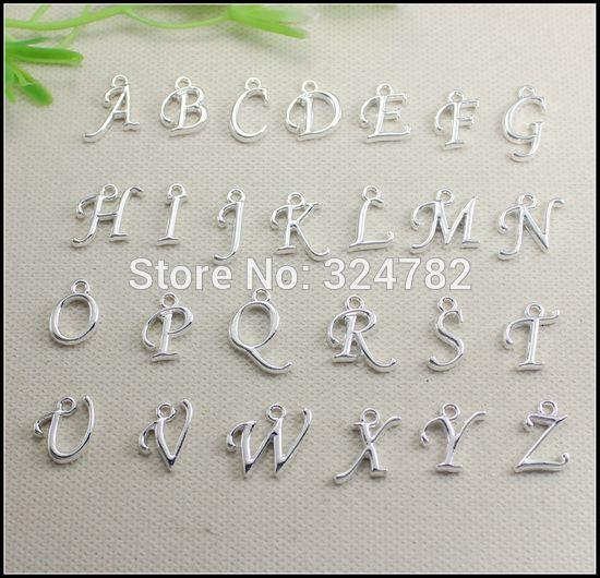 260pcs silver / gold plated Metal Alphabet Letter / A-Z Letters Pendants European beads fit Bracelet / Necklaces jewelry findings
