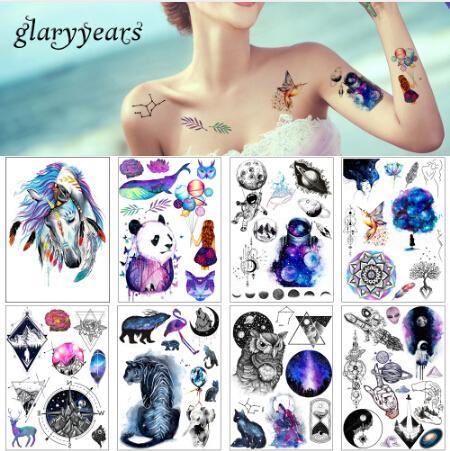 15 Feuille / lot Beauté Sticker Autocollant De Tatouage Étanche Mignon Cheval Coloré Animal Motif Femmes Fille Body Art Temporaire Tatouage Amovible