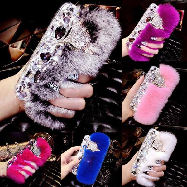 Luxury Rabbit Hair Fur Fox Head Bling Diamond Rhinestone TPU Case for iphone 5s 6 6s plus 7 7plus
