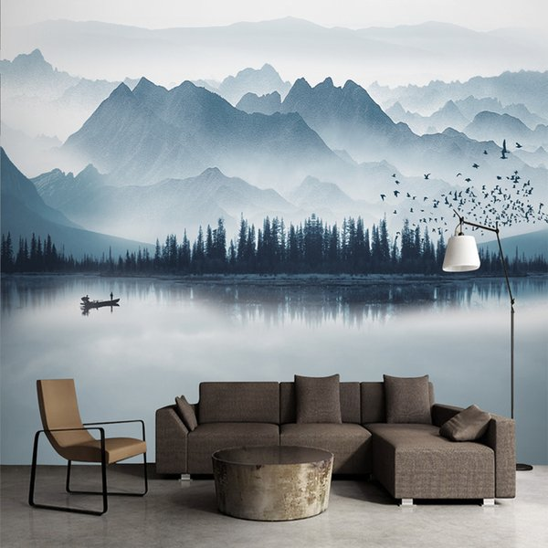 Chinese Ink Painting Wallpaper Landscape Wall Mural Waterfall Living Room Bedroom Bathroom Ceiling High Quality Custom