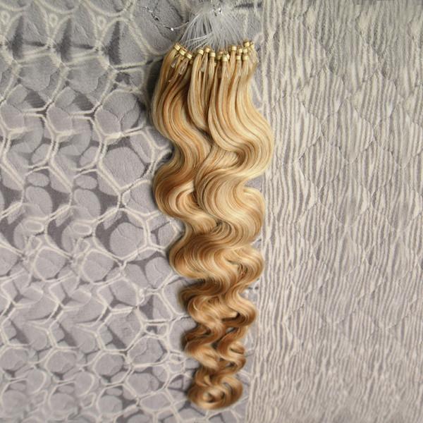 A cor de P27 / 613 Brasileira Onda Do Corpo Micro Loop Extensão Do Cabelo 1g / strand 100 S cabelo humano micro anel Cabelo remy