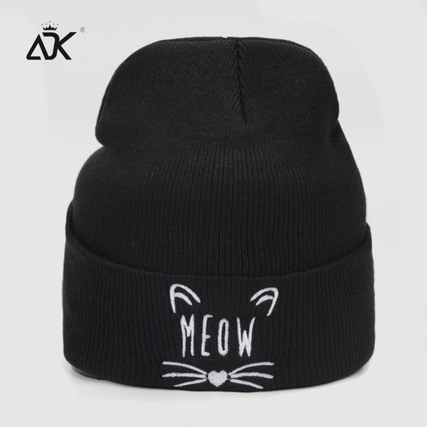 4c7f71fa 2019 ADK Cotton Male Female Knitted Hat Cat Face Embroidery Leisure Outdoor  Beanie High Quality Winter Hat From Enhengha, $22.82   DHgate.Com