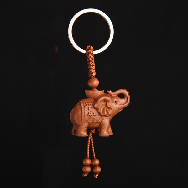 New Arrival Cute Natural Wood Carved Elephant Key Chain Key Ring Holder Lucky Keychains Jewelry Gift For Men Women