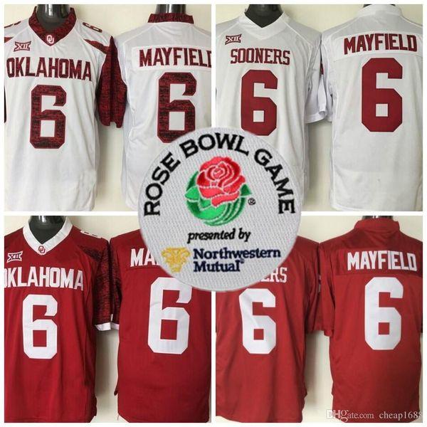 Mens 2018 NCAA Heisman Rose Schüssel-Flecken-Jersey Oklahoma Sooners # 6 Bäcker Mayfield rote weiße begrenzte genähte College-Fußball-Jerseys