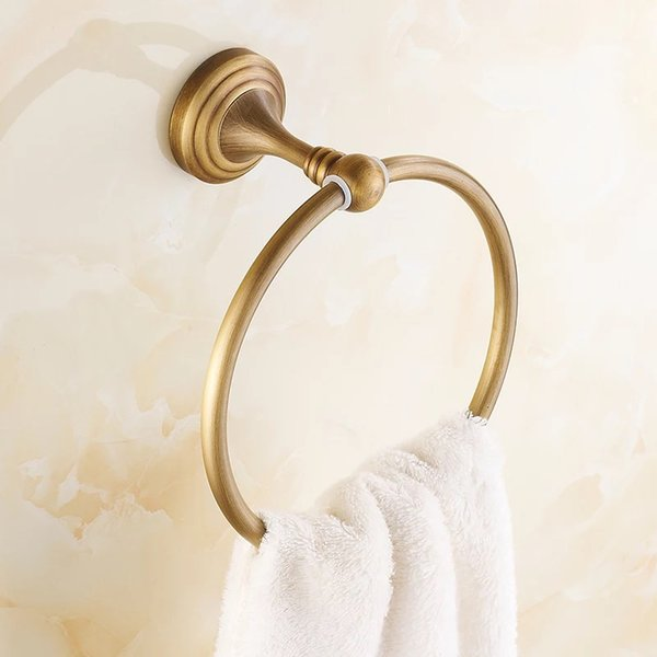 best selling copper Bathroom Accessories Antique Brass Towel Ring  Fashion Bronze Wall Mount Bath Towel Holder hangers