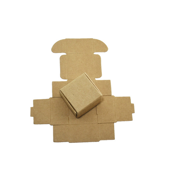 50Pcs Mini Kraft Paper Box Party Gift Earring Ring Decoration Package Small Paperboard Boxes Retail Foldable Brown Cardboard Box