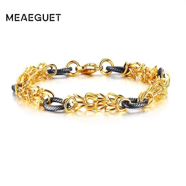 "Wia Chain Bracelet Stainless Steel Mens Bangles Gold Color Hollow Design Man Brazelt Pulseira 8.3"" Party Jewelry"