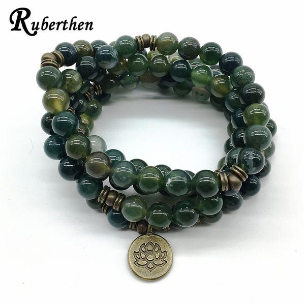 Ruberthen design de alta qualidade yoga cura pulseira ou colar musgo pedra natural de lótus meditativo 108 mala yoga jóias