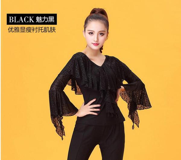 242bf0305c8d6 Acheter Dentelle Noire Danse Latine Top Pour Les Femmes À Manches Longues  Danse Chemises Costume De Salle De Bal Performance Performance Dancing Wear  ...