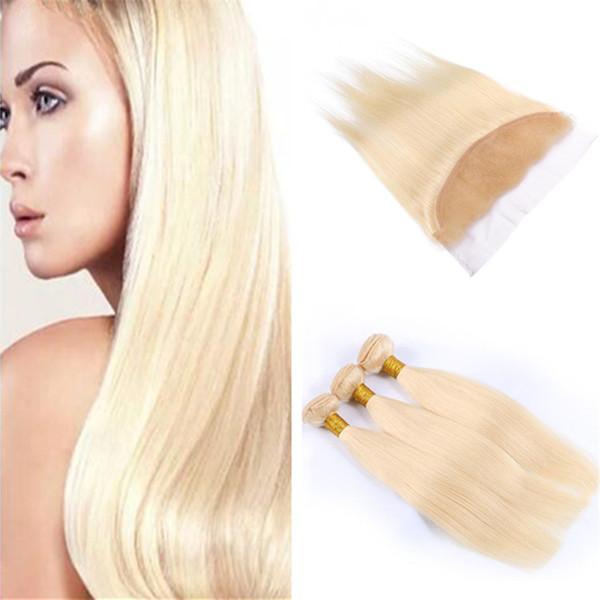 # 613 Blonde Bundles de cheveux humains avec fermeture frontale Bleach Blonde Straight Indian Tisser des cheveux de Vierge avec 13X4 dentelle frontale 3Pcs Lot