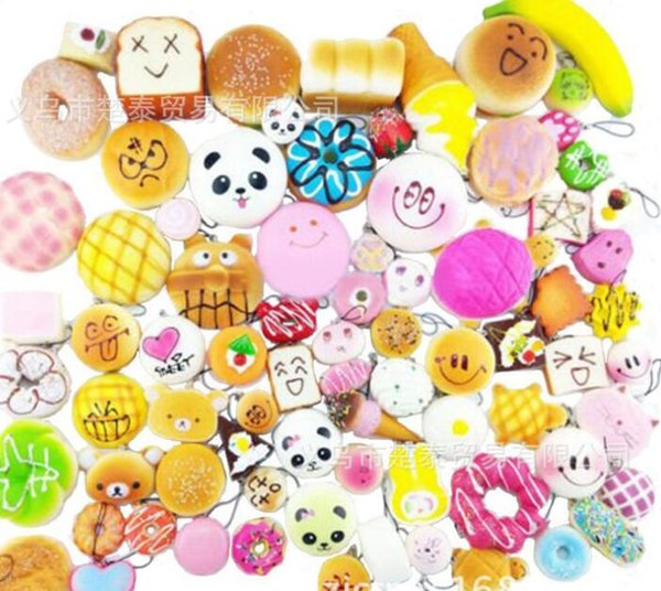 30pcs Kawaii Squish fruit Bun Toast Donut Bread for cell phone Bag Charm Straps keychains mixed Squishy slow rising lanyard scented DHL free