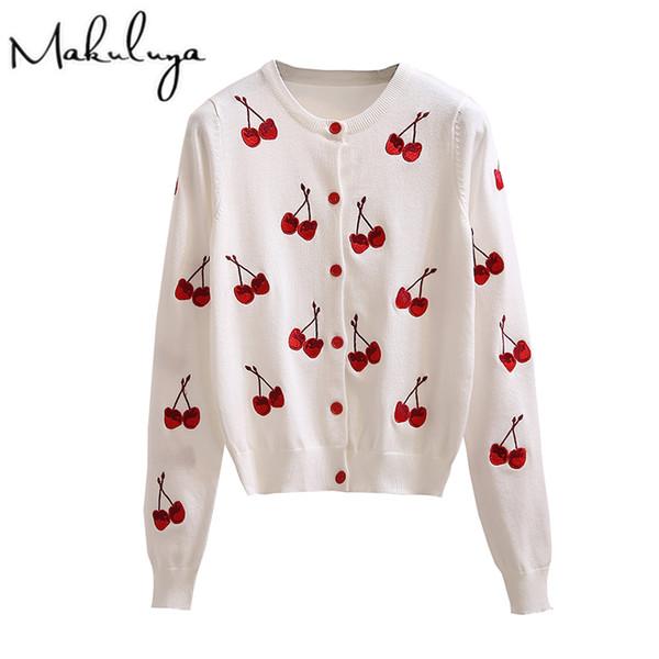 Compre Makuluya Otoño Primavera Mujer Suéter Cereza Bordado Patrón ...