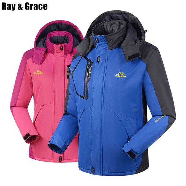 RAY GRACE Plus Size Thick Winter Hiking Outdoor Jacket Waterproof Windproof Sports Coat Fleece Thermal Parka Men Women Skiing