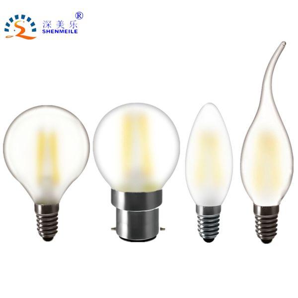 RXR High Quality Frosted LED lamp E14 E12 E27 E26 B22 2w 4w 6w C35 B10 220v 230V 110V 120V filament candle light bulb Retro lamp