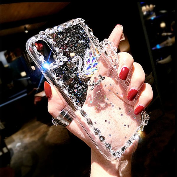 New Rhinestone Cell Phone Cases swan Phone case fashion Female Transparent Silica gel Case Lanyard for Iphone X case 6 7 8plus free