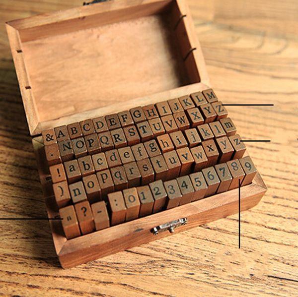 Alphabet Bois Timbres Alphabet Vintage En Bois Lettres Lettres Tampons En Caoutchouc