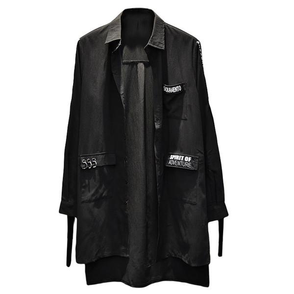 Noir Lâche Longue Chemise Hommes Hip Hop Punk Rock Hommes Button Up Chemises Casual Japonaise Streetwear Mode Coréenne Vêtements 6c017