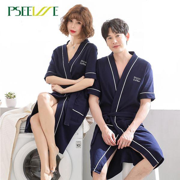 Sommer Paar stricken Robe Frauen Pyjamas Sexy Bademantel Bademäntel Für Frauen Männer Schlaf Dessous Pyjamas Nacht Bademäntel