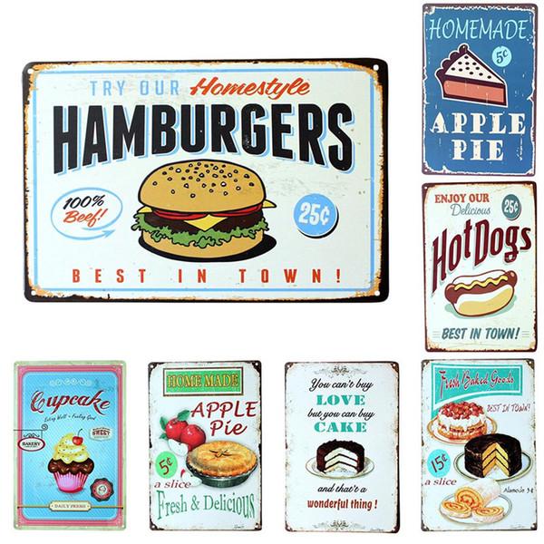 Vintage Blechschilder Hamburger Hot Dogs Apfelkuchen Lebensmittel Zeichen Poster Malerei Shabby Chic Dekor für Cafe Haus Restaurant Poster Y18102409