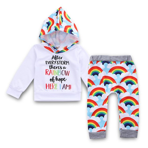 Baby Letter Hoodies+Rainbow Pants Outfits Fall 2018 Kids Boutique Clothing Euro America Little Boys Long Sleeves Tops 2 PC Set