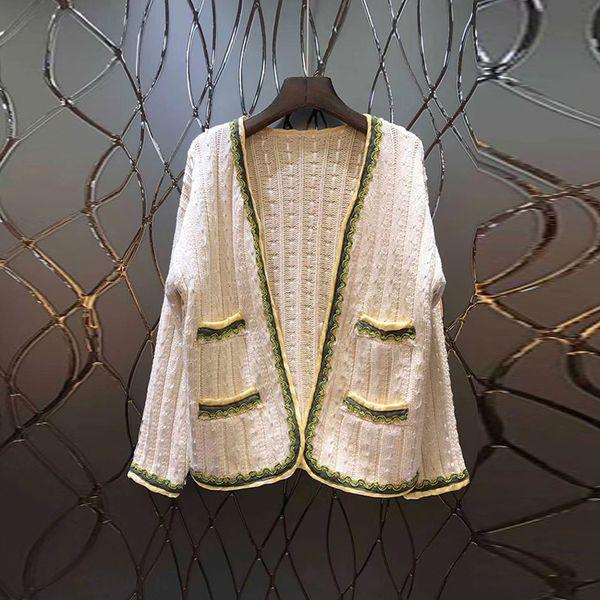 Marke Designer Frauen Wolle Strickjacke Pullover 2018 Herbst Winter Mode V-Ausschnitt Langarm Hand gestrickte Casual Jumper Mäntel