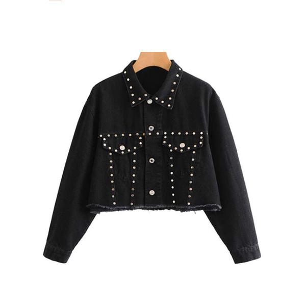 qqmall / Frauennieten schwarze Jeansjacke Mantel Nieten Taschen Fransen Quasten kurze Mäntel lässig schicke Oberbekleidung lose Top