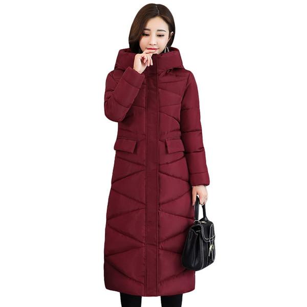 2018 New Fashion Design Women Winter Coat Jacket Warm Thick Parkas Long Female Overcoat Women Hooded Coat Cotton Padded Jacket C18110601