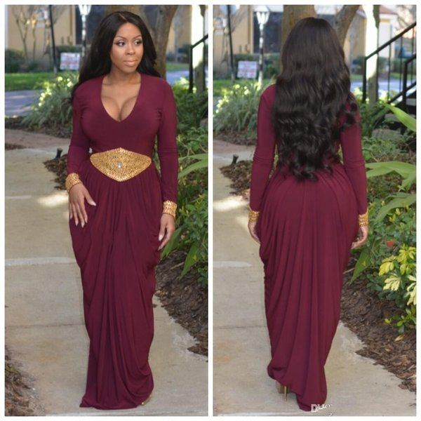 Formal African Style Burgundy Evening Dress Long Sleeve V Neck Gold Beaded Arabic Maxi Gowns Sash Sheath Plus Size Dubai Prom Party Dress