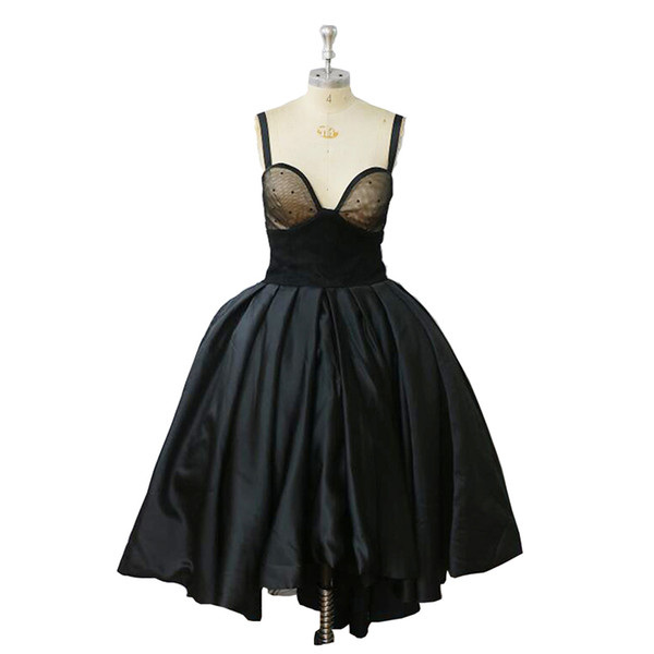 2018 Cheap Vintage Black Homecoming Dress Sexy High Low Strapless Women Real Image Middle East Vestido De Noiva Lady's Retro Party Gowns